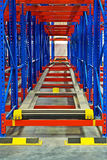 Warehouse storage inside shelving metal pallet racking systems Stock Photo