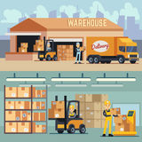 Warehouse storage and shipping logistics vector concept Royalty Free Stock Image