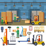 Warehouse storage vector illustration. Warehouse banner set with shipping and delivery flat elements  vector illustration. Storage business industry container Stock Photos
