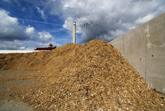 Warehouse storage of wooden fuel (biomass) against blue sky Stock Photo
