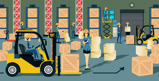 Warehouse. The storage warehouse worker and a forklift Stock Photos