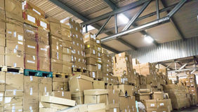 Warehouse. store. storehouse  hall cartons goods Royalty Free Stock Image