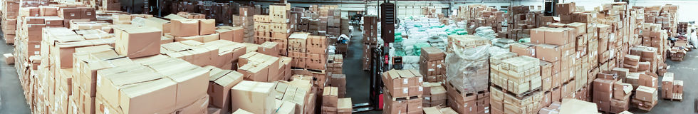 Warehouse store. storehouse. hall cartons panorama Royalty Free Stock Images