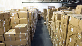 Warehouse. store  storehouse  hall cartons stock business Royalty Free Stock Photos