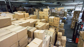 Warehouse. store. storehouse. hall cartons stock business Royalty Free Stock Image