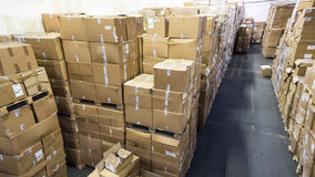 Warehouse. store. storehouse. hall cartons stock business Royalty Free Stock Photos
