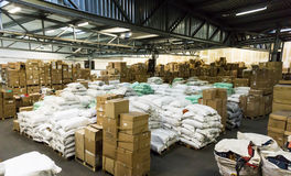 Warehouse. store. storehouse. hall cartons stock business Stock Photo