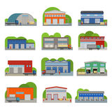 Warehouse storehouse depot storage facilities logistic flat style buildings vector illustration isolated on white. Storage factory industry flat vector Stock Image
