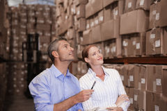 Warehouse team working together Stock Photo