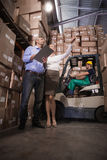 Warehouse team working together Stock Photos