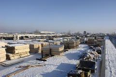 Warehouse to season lumber Royalty Free Stock Images