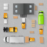 Warehouse Top View. Warehouse concept with top view trucks and buildings isolated vector illustration Stock Image