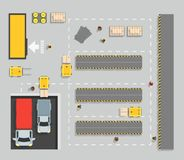 Warehouse Top View Scheme Map and Elements Part. Vector Stock Illustration