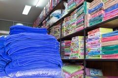 Warehouse of towel softness fluffy fiber fabric Royalty Free Stock Photos