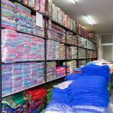 Warehouse of towel softness fluffy fiber fabric Stock Photo