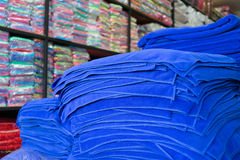 Warehouse of towel softness fluffy fiber fabric Stock Images