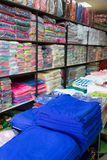 Warehouse of towel softness fluffy fiber fabric of textile Stock Images