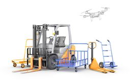 Warehouse transport. Forklift, manual forklift, hand trolley, drone. 3d illustration royalty free illustration