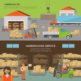 Warehouse transportation banners Royalty Free Stock Photography