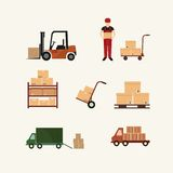 Warehouse transportation and delivery icons flat Stock Images