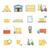 Warehouse transportation and delivery icons flat set isolated vector illustration Royalty Free Illustration