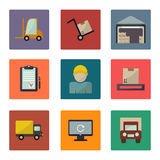 Warehouse transportation and delivery icons flat set Stock Photos