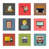 Warehouse transportation and delivery icons flat set Royalty Free Stock Image