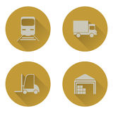 Warehouse transportation and delivery icons flat set Stock Image