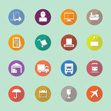 Warehouse transportation and delivery icons flat set Stock Photography