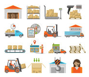 Warehouse transportation set Royalty Free Stock Photography