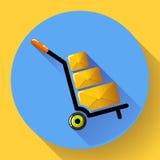 Warehouse Trolley flat 2.0 long shadow  icon. Warehouse Trolley flat 2.0 long shadow  icon Stock Image