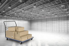 Warehouse trolley with heap of storage boxes. 3d rendering warehouse trolley with heap of storage boxes Stock Images