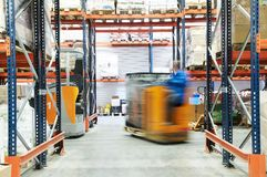 Warehouse truck loader works Royalty Free Stock Image