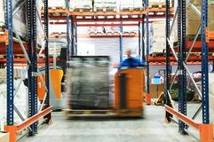 Warehouse truck works Stock Photo