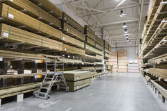 Warehouse with variety of timber for construction Royalty Free Stock Photos