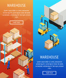 Warehouse Vertical Isometric Banners Royalty Free Stock Photo