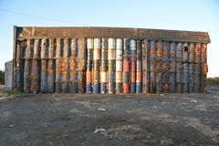 Warehouse wall of 50-gallon drums near Millersburg, Oregon Stock Photos