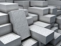 Warehouse with white bricks. Illustration about construction materials. Closeup white bricks at warehouse.  Construction materials. Industrial 3d Illustration Stock Images