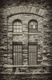 Warehouse Window. Edison Plant Sault Ste. Marie Michigan panes stone glass brick architecture stock image