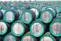 Warehouse with wine casks with madeira outdoors Stock Photography