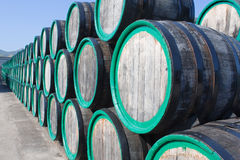 Warehouse with wine casks with madeira outdoors Stock Photo