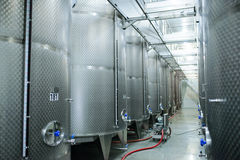 Warehouse with Wine Tanks Royalty Free Stock Images