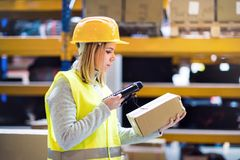 Warehouse woman worker with barcode scanner. Warehouse woman worker or supervisor with barcode scanner. A mobile handheld PC with barcode scanner Stock Photos