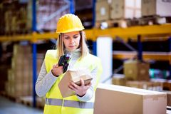 Warehouse woman worker with barcode scanner. Warehouse woman worker or supervisor with barcode scanner. A mobile handheld PC with barcode scanner Royalty Free Stock Images