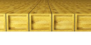 Warehouse with wooden crates Royalty Free Stock Image