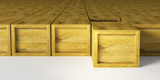 Warehouse with wooden crates Stock Image