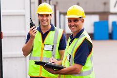 Warehouse worker colleague. Happy senior warehouse worker and colleague Royalty Free Stock Images