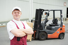 Warehouse worker in front Royalty Free Stock Photo
