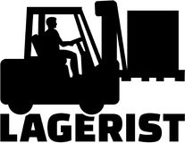Warehouse worker. German job title with forklift Royalty Free Stock Image