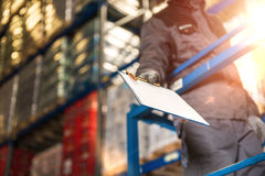 Warehouse worker giving raports closeup photo. stock photo